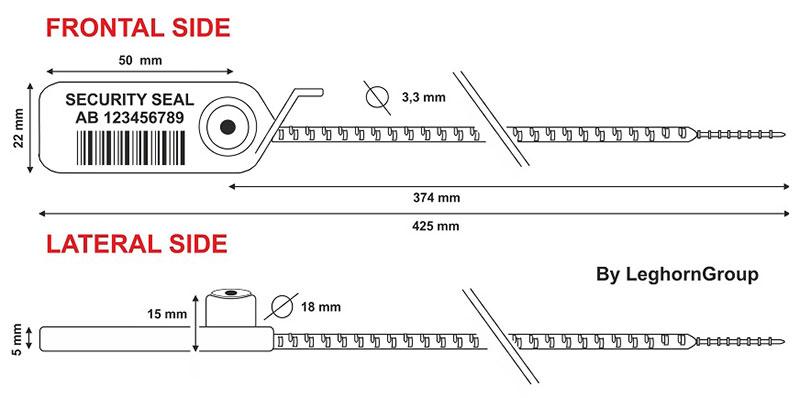 durchziehplombe aus kunststoff adjuste seal rfid technische zeichnung