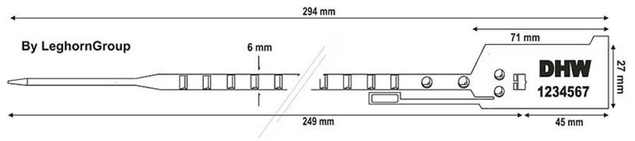 durchziehplombe easytight 6×294 mm technische zeichnung