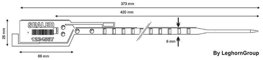 durchziehplombe long seal 6×420 mm technische zeichnung
