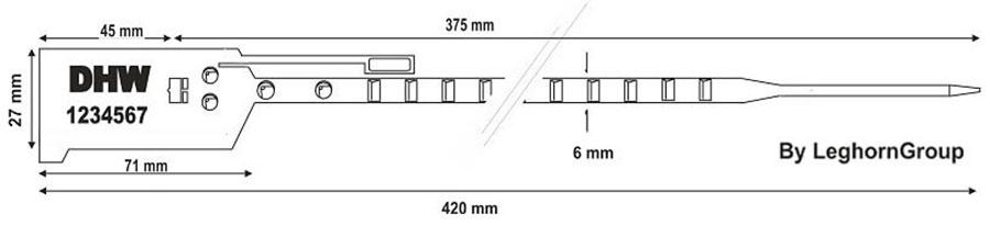 durchziehplomben bag seal 6×420 mm technische zeichnung