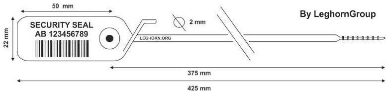 durchziehplomben jupiter 2×425 mm technische zeichnung
