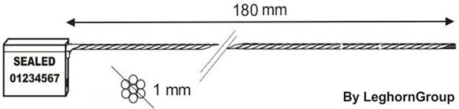 kabelplomben 1×180 mm technische zeichnung