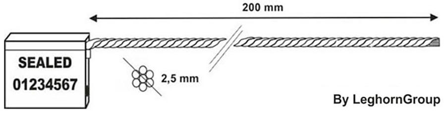 kabelplomben 2.5×200 mm technische zeichnung