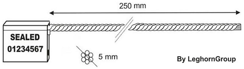 kabelplomben 5×250 mm technische zeichnung