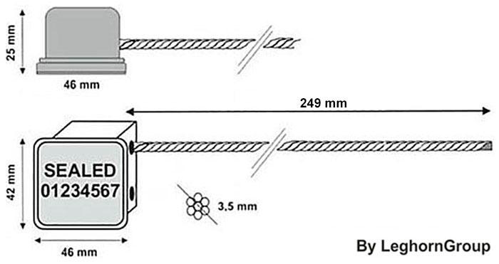 minicable rfid kabelplomben technische zeichnung