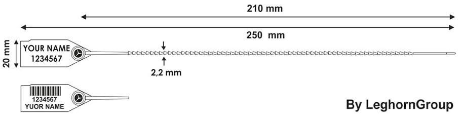 plombe fur notausgange twiggy seal 2.2×250 mm technische zeichnung