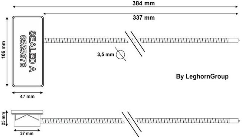 rfid anti tamper kabelplomben technische zeichnung