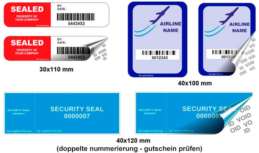 void sicherheisetiketten farben personalisierungen