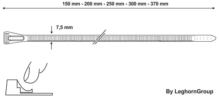 wiederverwendbare kabelbinder technische zeichnung