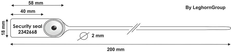 durchziehplomben aus kunststoff jupiter 2×200mm technische zeichnung